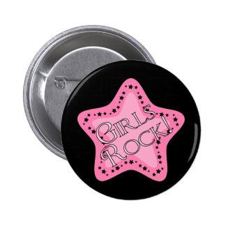 Girls Rock Pink Star Pinback Buttons