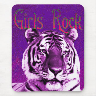 Girls Rock Purple Tiger Mousepad