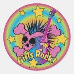 Girls Rock Skull Classic Round Sticker