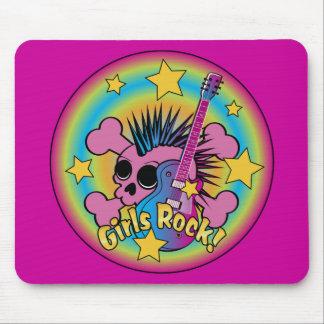 Girls Rock Skull Mouse Pads