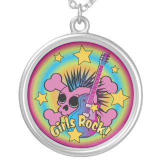 Girls Rock Skull Personalized Necklace