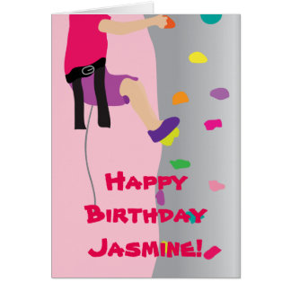 Girl's Rock Wall Climbing Birthday Party Greeting Card