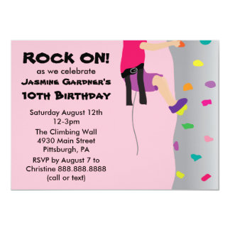 Girl's Rock Wall Climbing Birthday Party 11 Cm X 16 Cm Invitation Card