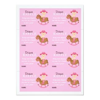 Girls Rocking Horse Diaper Raffle Card