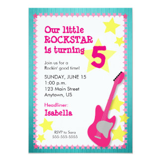 Girl's Rockstar Birthday with Pink Guitar Card