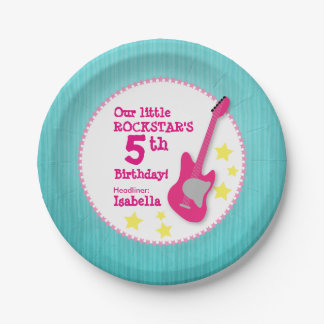 Girl's Rockstar Birthday with Pink Guitar Paper Plate