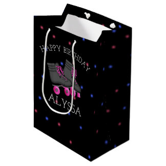 Girl's Roller Skate Birthday Party Personalized Medium Gift Bag