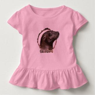 Girls ruffled seal top. toddler T-Shirt