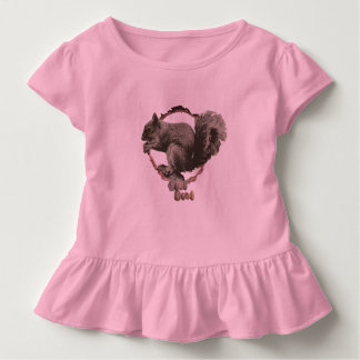 Girls ruffled squirrel top. toddler T-Shirt