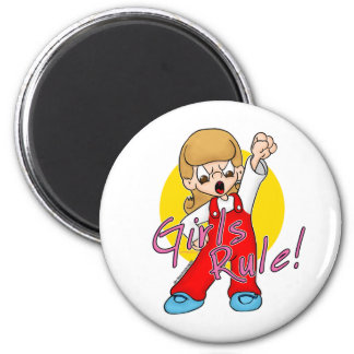 Girls Rule 6 Cm Round Magnet