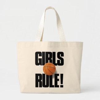 GIRLS RULE! Basketball Jumbo Tote Bag