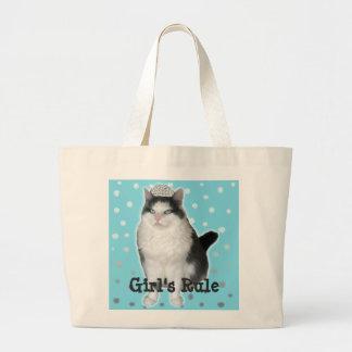 """""""Girl's Rule"""" Cat Tiara Tote Jumbo Tote Bag"""