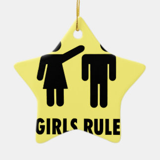 Girls rule ceramic star decoration