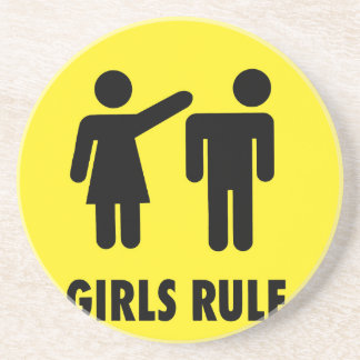 Girls rule drink coaster