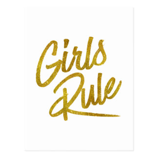 Girls Rule Gold Faux Foil Metallic Glitter Quote Postcard