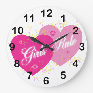 Girls Rule Pink Hearts Numbered Wall Clock