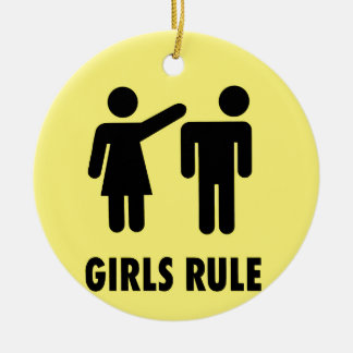 Girls rule round ceramic decoration