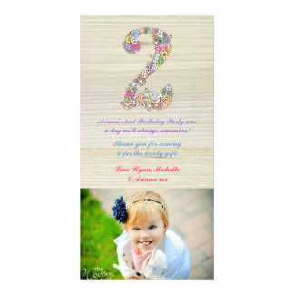 Girls Rustic 2nd Birthday Floral Thank You Photo Card