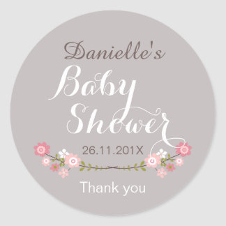 Girls Rustic Floral Baby Shower Favor Sticker