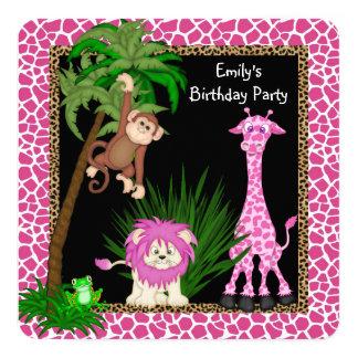 Girls Safari Birthday Party 13 Cm X 13 Cm Square Invitation Card