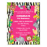 Girl's Safari Theme - Kid's Birthday Party Invites 11 Cm X 14 Cm Invitation Card