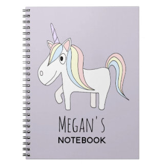 Girl's School Doodle Magical Unicorn with Name Spiral Notebook