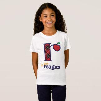 Girls School Monogram Shirt Apple Initial r