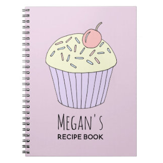 Girl's School Recipe Doodle Cupcake with Name Notebook