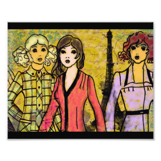 girls shopping in paris photo print