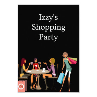 Girls Shopping Party Event Black 9 Cm X 13 Cm Invitation Card