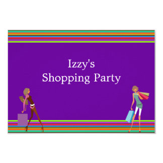 Girls Shopping Party Event Purple 9 Cm X 13 Cm Invitation Card