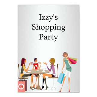Girls Shopping Party Event Silver White 9 Cm X 13 Cm Invitation Card