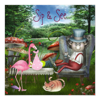 Girl's Sip & See Mad Hatter Tea Party Baby Shower 13 Cm X 13 Cm Square Invitation Card