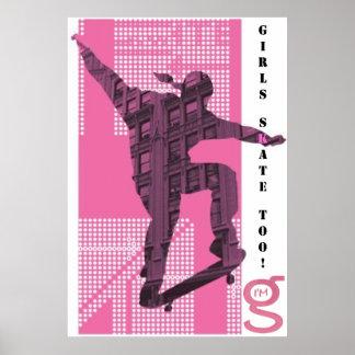 Girls Skate Too - Poster Pink