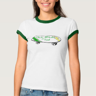 Girls Skate Too - Skateboard T Shirt (green trim)