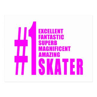 Girls Skating Skaters : Pink Number One Skater Post Card