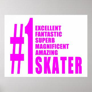 Girls Skating Skaters Pink Number One Skater Poster