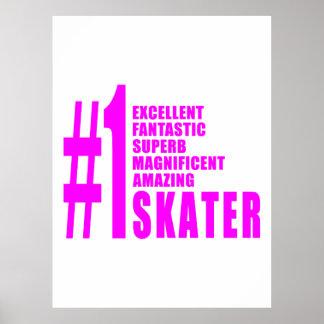 Girls Skating Skaters : Pink Number One Skater Posters