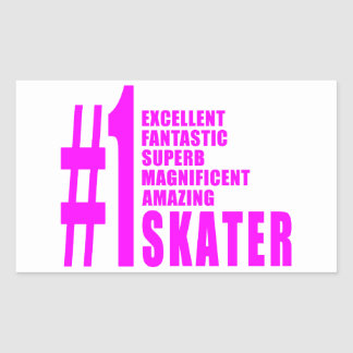 Girls Skating Skaters Pink Number One Skater Rectangle Stickers
