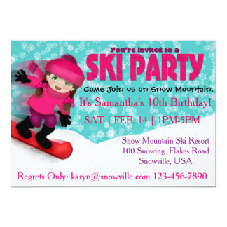 Girls Ski Party Invitation