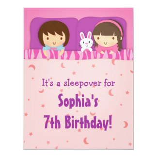 Girls Sleepover Slumber Birthday Party invitations