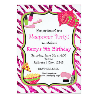 Girls Sleepover Slumber Party Makeup Invitation