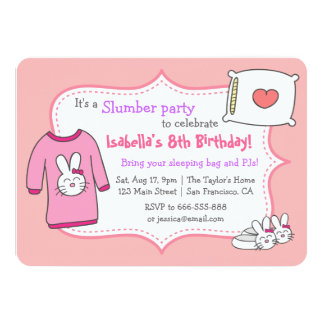 Girls Slumber Birthday Party, Sleepover Pyjama Card