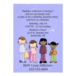 Girl's Slumber Party Birthday Invitation