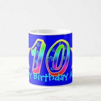 Girl's Smiley Stars 10th Birthday Mug