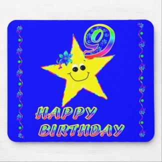 Girl's Smiley Stars 9th Birthday Mousepad