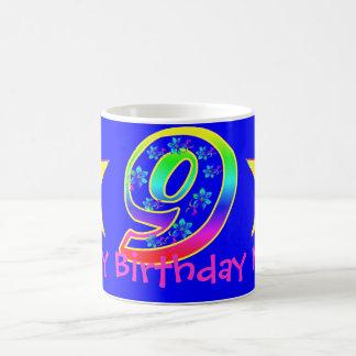 Girl's Smiley Stars 9th Birthday Mug