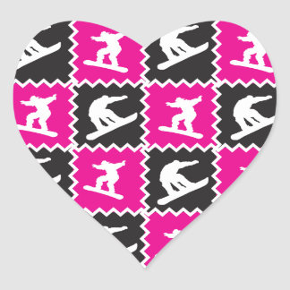 Girls Snowboarding Pattern Hot Pink Black Heart Sticker