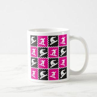 Girls Snowboarding Pattern Hot Pink Black Basic White Mug