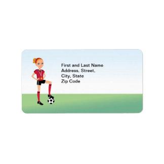 Girl's Soccer Address Label